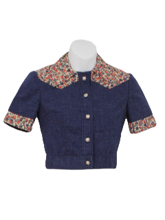 1970's Womens Western Style Crop Top Shirt