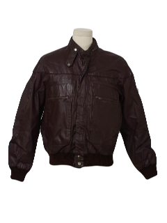 1980's Mens Cafe Racer Leather Motocross Members Only Style Jacket