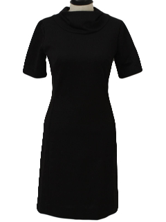 1960's Womens Little Black Mini Knit Dress