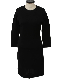 1960's Womens Little Black Knit Dress