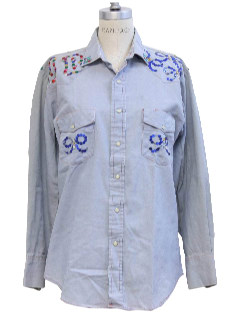 1980's Unisex Embroidered Chambray Hippie Shirt