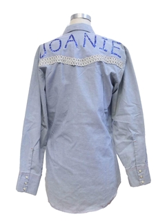 1980's Womens Embroidered Chambray Hippie Shirt