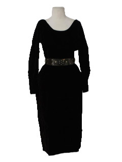 1960's Womens Mod Designer Velvet Cocktail Dress