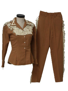 1940's Womens Designer Western Rockabilly Pant Suit