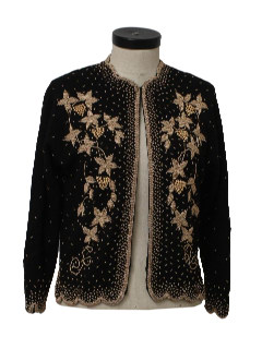 1980's Womens Beaded Cocktail Cardigan Sweater