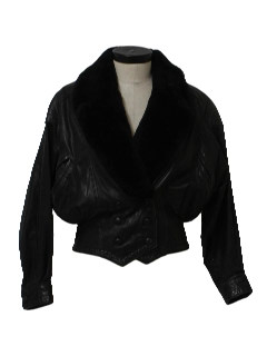 1980's Womens Totally 80s Oversized Dolman Cut Leather Jacket
