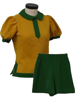 1970's Womens or Girls Combo Shorts and Shirt Cheerleader Outfit