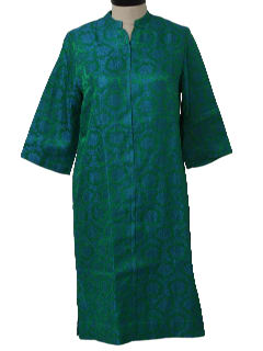 1960's Womens Mod Asian Cheongsam Inspired Lounge Wear Dress