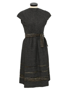 1960's Womens Designer Wool Early Mod Day Dress