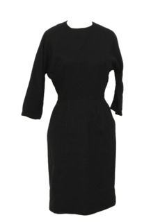 1950's Womens Little Black Wool Fab Fifties Dress