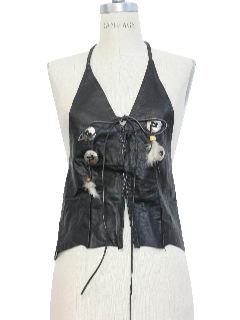 1980's Womens Leather Motorcycle Vest Halter Top
