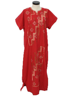 1980's Womens Hippie Caftan Maxi Dress