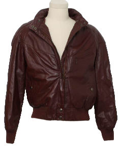 1980's Mens Leather Racer Style Bomber Jacket