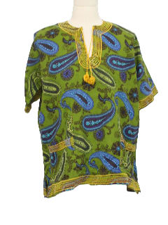 1980's Mens Ethnic Dashiki Style Hippie Shirt