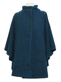 1980's Womens Totally 80s Wool Cape Poncho Jacket