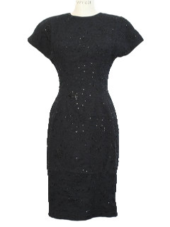 1980's Womens Totally 80s Little Black Designer Wool Wiggle Dress