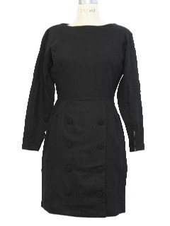 1950's Womens Little Black Fab Fifties Wool Dress