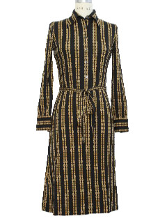 1960's Womens Mod Wool Designer Dress