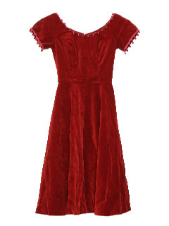1950's Womens or Girls Fab Fifties Velvet Cocktail Dress or Prom Dress
