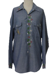 1970's Unisex Chambray Hippie Shirt