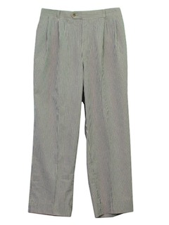 1980's Mens Totally 80s Seersucker Slacks Pants