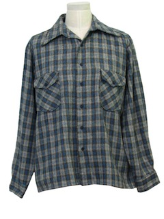 1970's Mens Wool Plaid Shirt