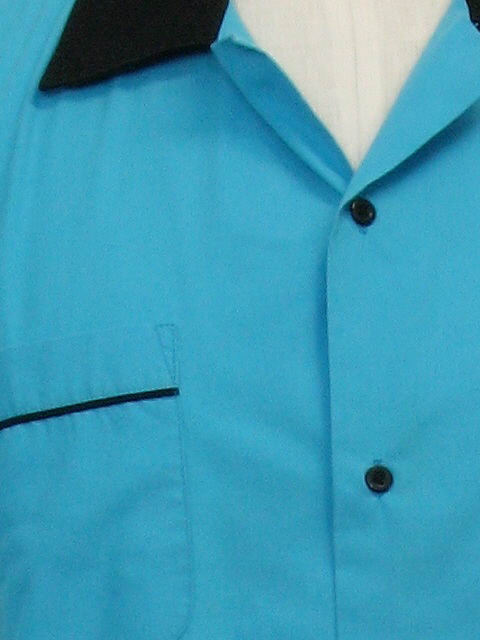 f5489c3f 90s Retro Bowling Shirt: 90s -Cruisin USA- Unisex sky blue background and  black polyester cotton broadcloth, classic 2-tone short sleeve bowling shirt  with ...