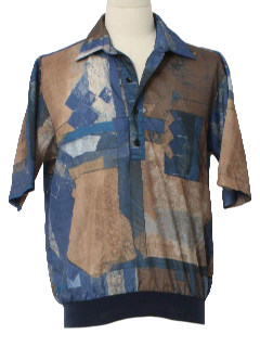 1970's Mens Print Resort Wear Style Pullover Shirt