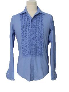 1970's Ment Ruffled Tuxedo Shirt