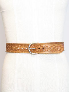 1970's Mens Accessories - Stamped Leather Hippie Belt