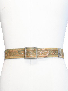1980's Mens Accessories - Stamped Leather Western Hippie Belt