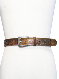 1970's Mens Accessories - Tooled Leather Western Hippie Personalized Belt