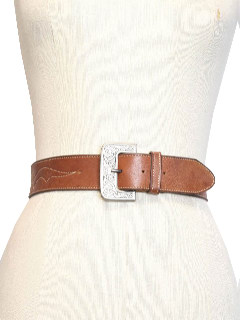 1980's Womens Accessories - Stitched Leather Western Belt