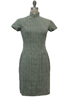 1960's Womens Knit Cheongsam Dress