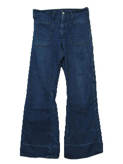 1970's Mens Faded Hippie Bellbottom Jeans Pants