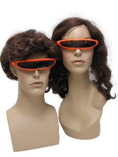 1980's Unisex Accessories - Totally 80s New Wave Punk Style Single Lens Wrap Shade Sunglasses