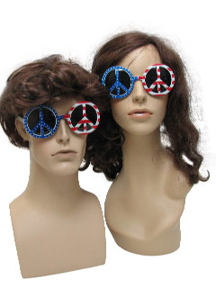 1970's Unisex Accessories - Round American Flag Peace Symbol Hippie Sunglasses