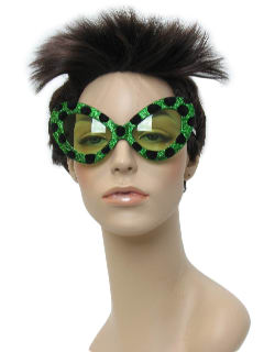 1960's Womens Accessories - Mod Cat Eye Green Christmas Party Sunglasses