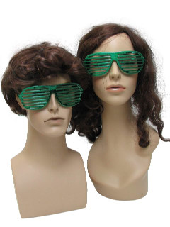 1980's Unisex Accessories - Totally 80s Retro Shutter Shade Metallic Green Christmas Party Sunglasses