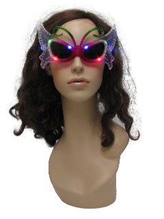 1990's Womens Accessories - Light up Butterfly Christmas Party Sunglasses