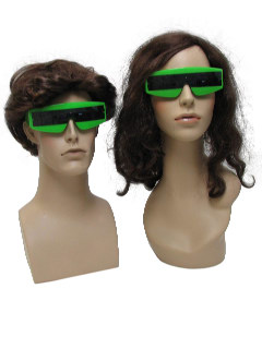 1980's Unisex Accessories - Totally 80s New Wave Punk Devo Style Wrap Green Christmas Party Sunglasses
