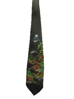1950's Mens Hand Painted Necktie