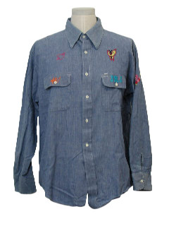 1970's Mens Chambray Hippie Shirt