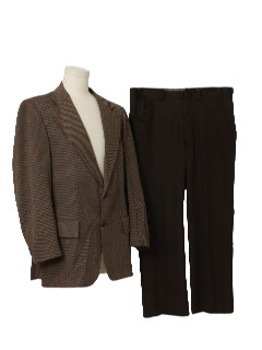 1970's Mens Polyester Knit Combination Suit