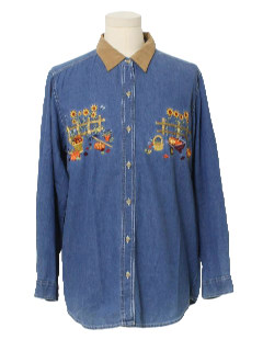 1990's Unisex Ugly Halloween Denim Shirt