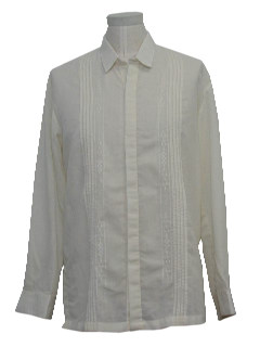 1990's Mens Guayabera Inspired Hippie Shirt