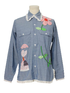 1970's Womens Chambray Holly Hobby Hippie Shirt