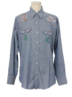 1970's Unisex Western Style Chambray Hippie Shirt