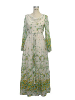 1970's Womens Maxi Hippie Dress