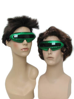 1980's Unisex Accessories - Totally 80s Style Devo Punk Look Glittery Green Christmas Party Sunglasses